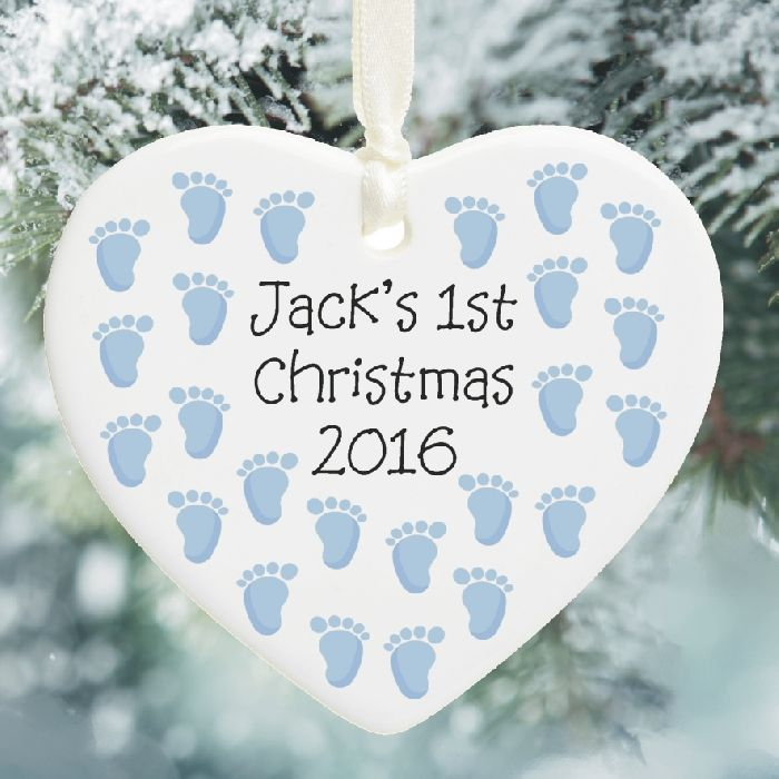 1st christmas ceramic heart tree decoration baby s first for Babys first christmas decoration