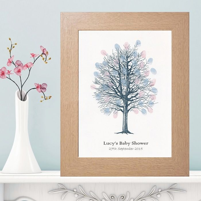 A4 Baby Shower Fingerprint Tree   Personalised With Own Text   Supplied  With A Pink And A Blue Inkpad