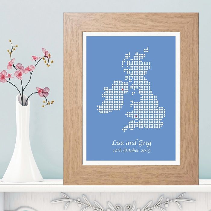 Unique Wedding Anniversary Gifts Uk : ... Isles Dot Map PrintUnique Wedding, Engagement or Anniversary Gift