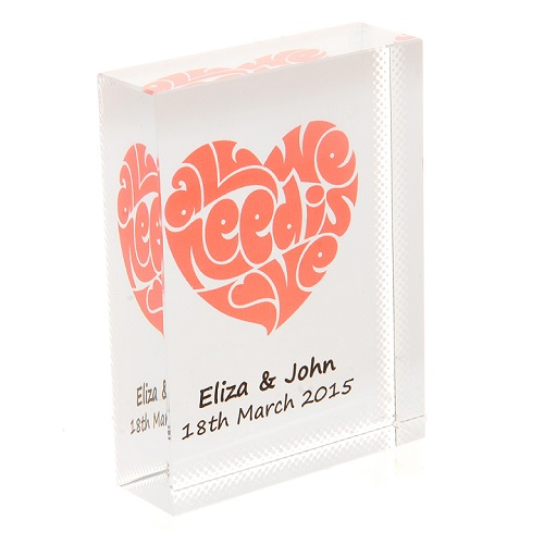 Unique Wedding Anniversary Gifts Uk : All We Need Is Love CrystalUnique Personalised Wedding, Anniversary ...