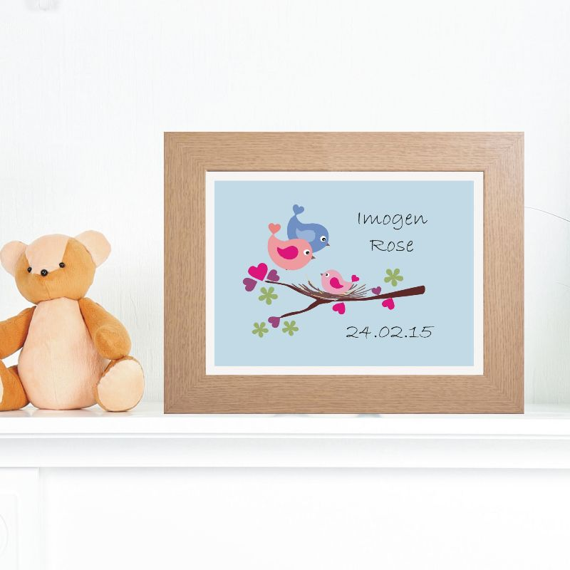 Baby Gifts Unique Uk : Baby bird artwork personalised nursery print unique
