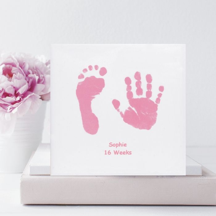 Baby handprint and footprint square ceramic tile with stand unique