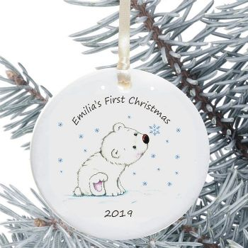 Baby s first christmas ceramic christmas tree decoration for Baby christmas tree decoration