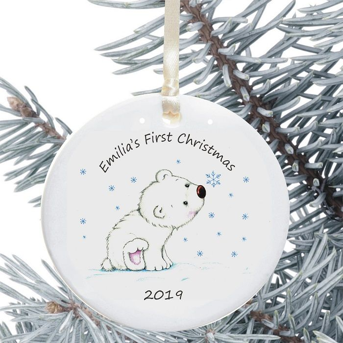 Baby s first christmas ceramic christmas tree decoration for Babys first christmas decoration
