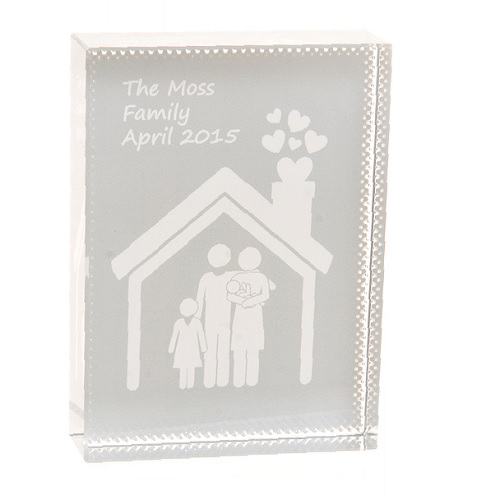 Family House Crystal Unique Personalised Housewarming Gift