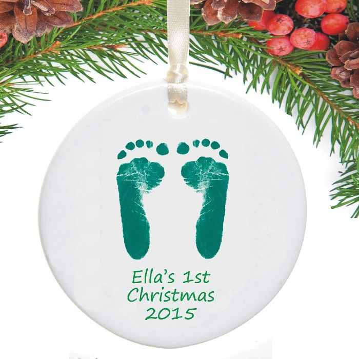 Footprints first christmas tree decorations set of 4 for Baby s first christmas decoration