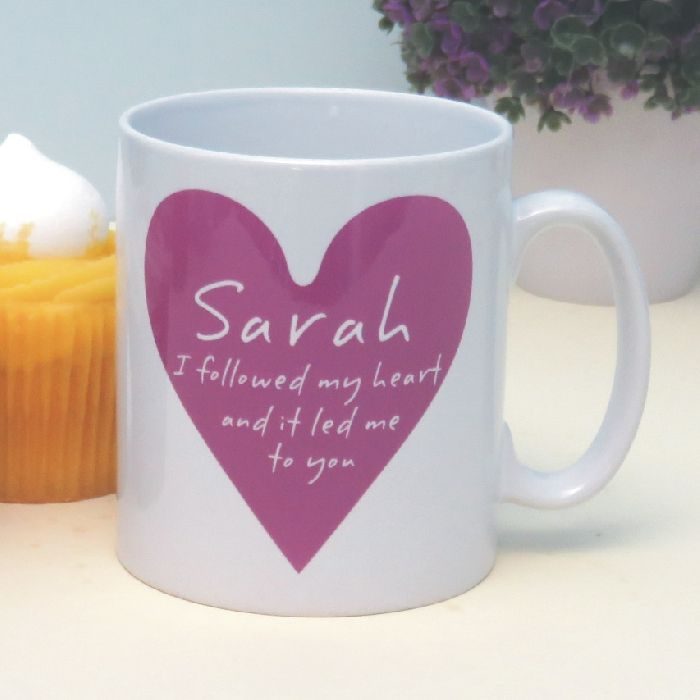 i followed my heart personalised romantic mug - customised, Ideas