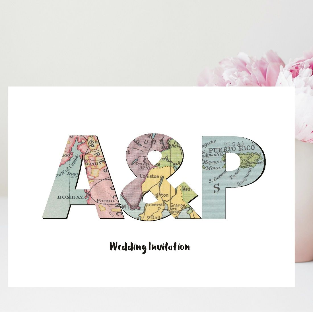Initials Vintage Map Wedding Invitations - Personalised with 3 Maps ...