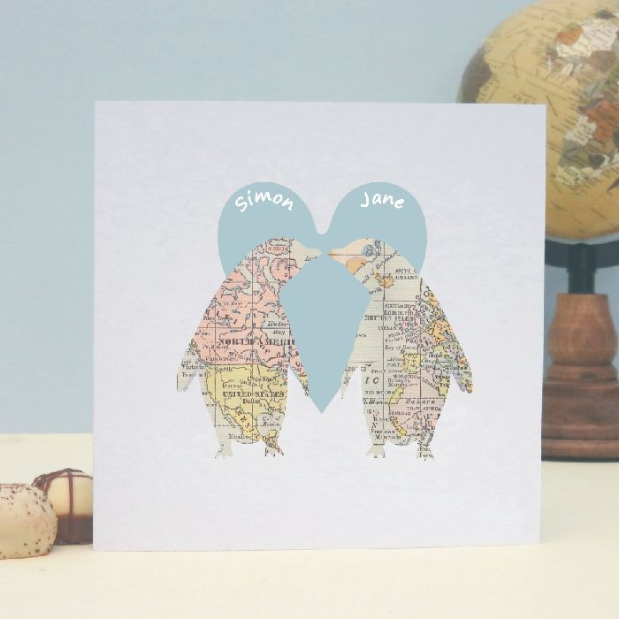 Penguins In Love Map Personalised Valentine s Day Card Wedding – Personalised Valentines Day Cards