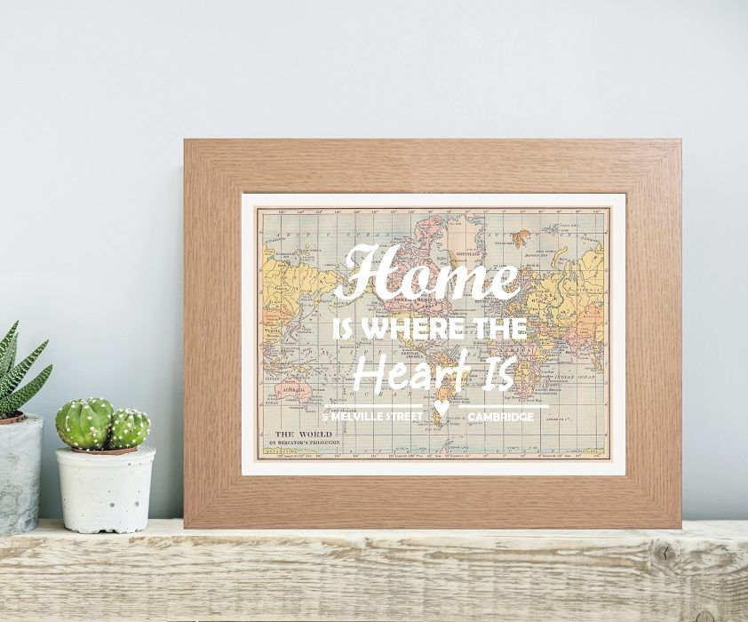 Personalised coloured typography home is where the heart for Unique new home gifts