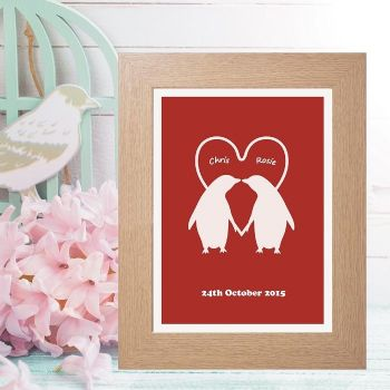 Personalised Penguin Couple Print - Unusual Wedding, Anniversary or ...