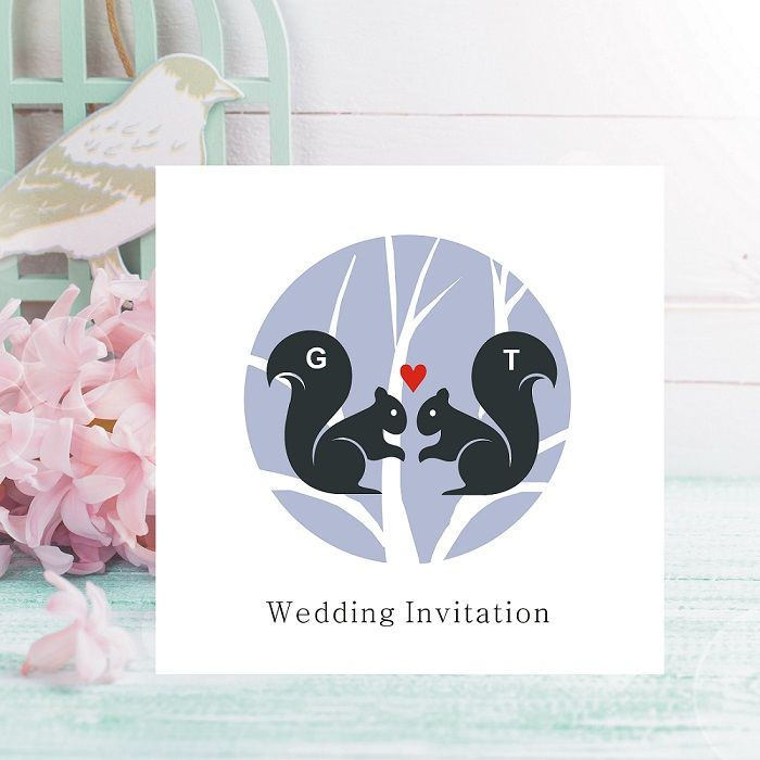Squirrel Wedding Invitations - Personalised with Initials - FREE ...