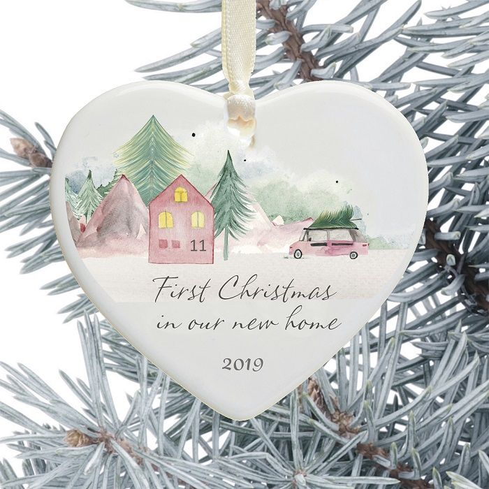 First Christmas In Our New Home 2019.1st Christmas In Our New Home Keepsake Ceramic Heart Xmas Tree Decoration Mountainside Home Design