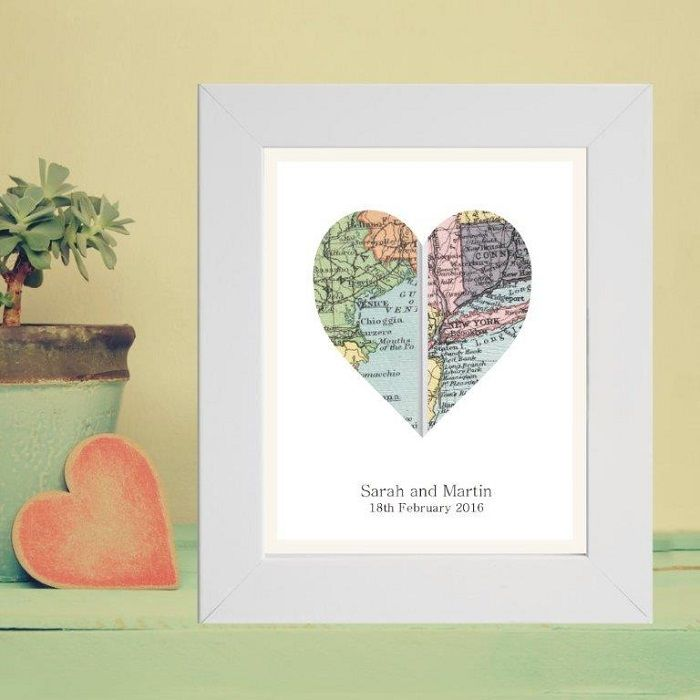 A4 Vintage Map Framed Heart Print Displaying 2 Locations Unique