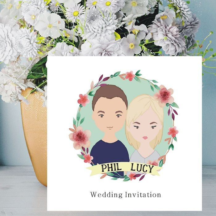 Cartoon Couple Illustration Wedding Invitations Personalised With