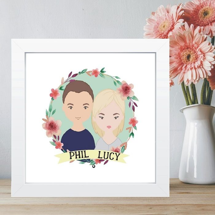 Cartoon Couple Portrait in Box Frame- Ideal Wedding Gift - Great ...
