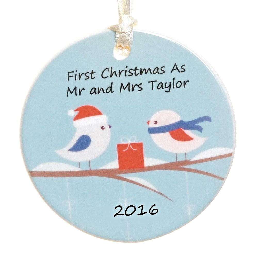 Ceramic Christmas Tree Decoration Birds In Snow Design Personalised Christmas Ornament