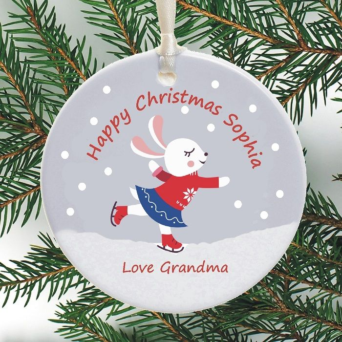 Cute Personalised Christmas Ornament Skating Bunny Design Personalized Ceramic Christmas Tree Bauble Holiday Decoration