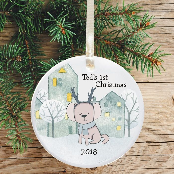 Dogs First Christmas Ornament.Dog S First Christmas Tree Decoration Personalised Puppy Xmas Ornament