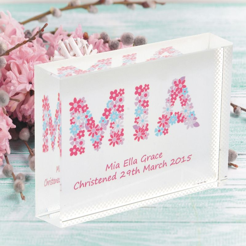 Flowers Name Crystal - Personalised Flower Girl, Bridesmaid, New Baby or Christening Gift