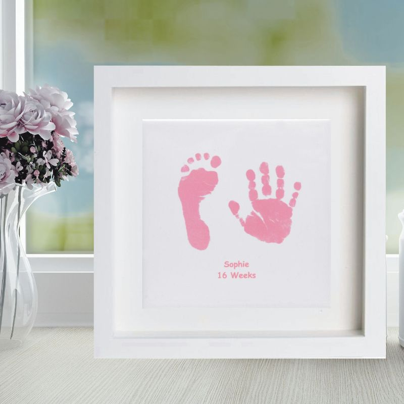 Framed Baby Hand and Foot Print Square Ceramic Tile - Baby Keepsake ...