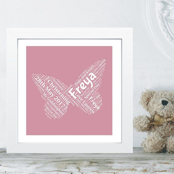 framed goddaughter butterfly word cloud christening gift ideal