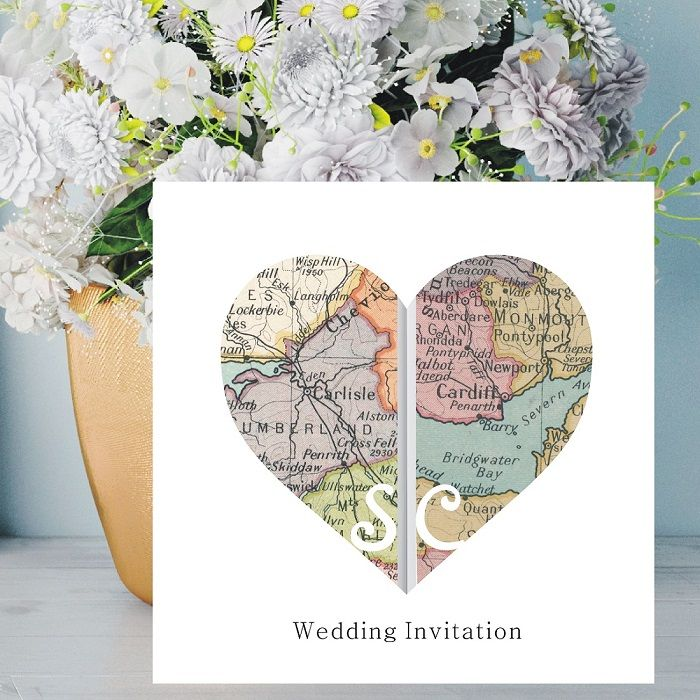Heart Vintage Map Wedding Invitations - Personalised with Maps Of ...
