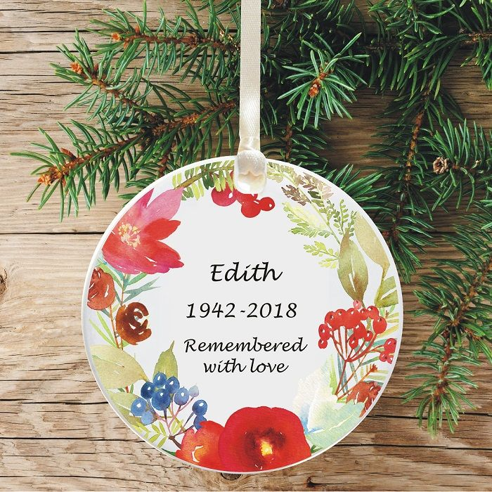 in loving memory remembrance christmas tree decoration floral watercolour wreath design