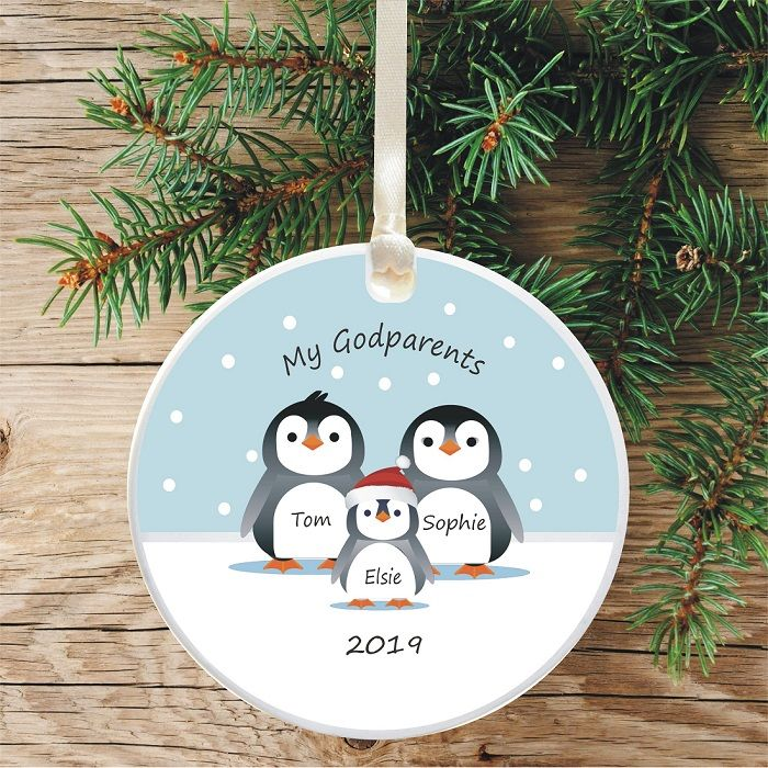 Penguin Tree Bauble Decoration 1st Christmas as Godparents - Cute ...