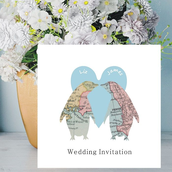 Penguins In Love Map Personalised Wedding Invitation Name Of