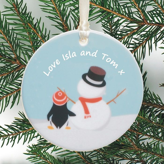 Ceramic Christmas Tree Decorations.Personalised Ceramic Christmas Tree Decoration Penguin And Snowman Design