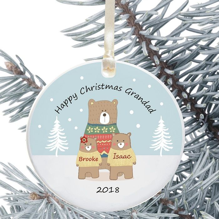 personalised christmas tree decoration for dadgrandad gift from child bear design