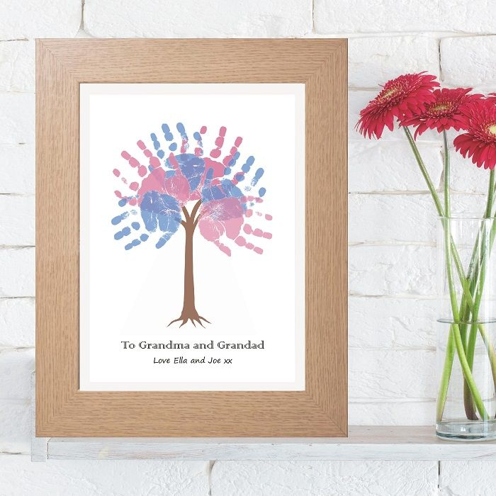 Personalised Handprint Tree Unique Grandparents Gift