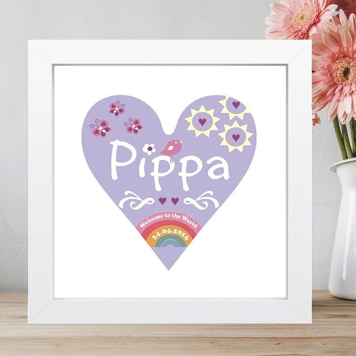 personalised new baby welcome to the world heart print new baby