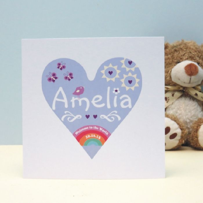 personalised welcome to the world card new baby girl personalised