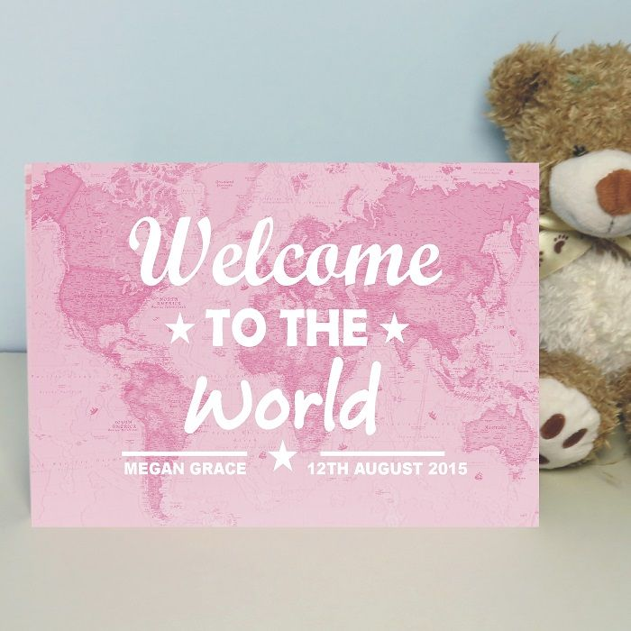personalised welcome to the world map card new baby boy or girl