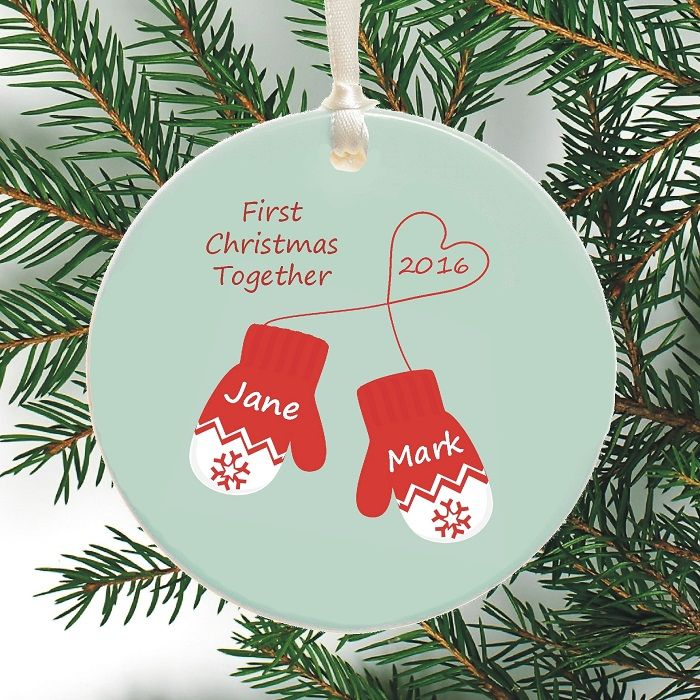 Personalized Ceramic Christmas Mittens Bauble