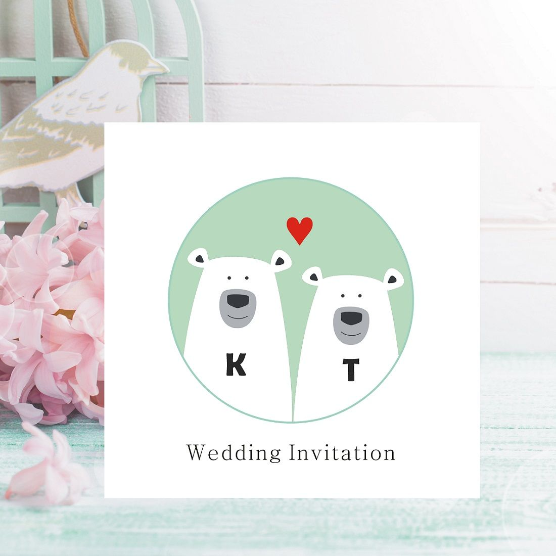 Polar Bear Wedding Invitations - Personalised with Initials - FREE ...
